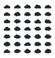Big set of thirty-five black cloud shapes vector image
