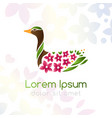 bird with floral wings emblem vector image vector image