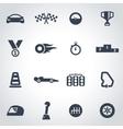 black racing icon set vector image vector image