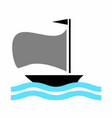 boat with blue sea vector image vector image