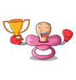 boxing winner baby silicone pacifier isolated on vector image vector image