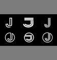 capital letter j modern set for monograms logos vector image vector image