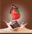 chocolate strawberry and milk vector image