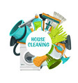 cleaning tools banner clean house service vector image vector image