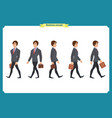 collection set walking and running businessman vector image vector image