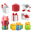 gift boxes with bows 3d icon set vector image vector image