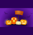 halloween background with pumpkins of different vector image