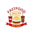 Hamburger fast food with fried egg emblem vector image vector image