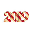 happy new year card red striped number 2019 gold vector image vector image