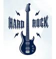 hard rock emblem with electric guitar logo vector image vector image