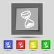 hourglass icon sign on original five colored vector image vector image