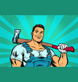 lumberjack woodcutter with axe vector image