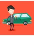 Man holding keys to his new car vector image vector image