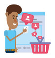 man on social networks vector image