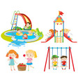 many kids playing at the playground and in the vector image vector image
