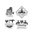 monochrome emblems for plumbing and home vector image vector image