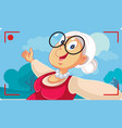 old senior lady taking a selfie outside vector image vector image