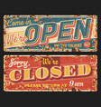 open and closed rusty metal retro plates vector image