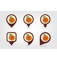 Peach mapping pins icons vector image vector image