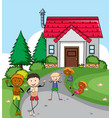 people infront of house vector image vector image