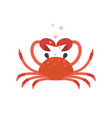 red crab pose hands in shape heart vector image vector image