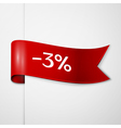 Red ribbon with inscription 3 percent discounts on vector image