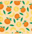 ripe orange products fruits seamless pattern vector image vector image