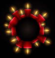 round frame with red luminous candles and place vector image vector image