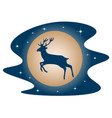 rudolph the deer red nose in the sky vector image vector image