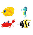 sea fish cartoon set vector image vector image