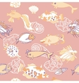 Seamless pattern with fishes and cockleshells vector image