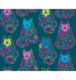seamless pattern with hand drawn colorful cats vector image vector image