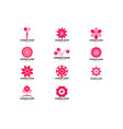 set abstract flower logo icon design vector image vector image