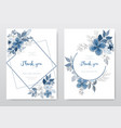 set beautiful blue watercolor floral card vector image