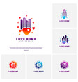 set of modern city love logo design concept vector image vector image