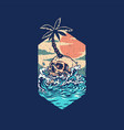 skull summer beach t shirt graphic design vector image