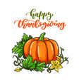 thanksgiving day card with handwritten vector image
