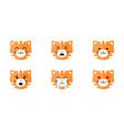 tiger emoticon emoji set cute animal face