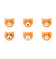 tiger emoticon emoji set cute animal face with vector image