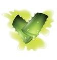 Two cut pieces of aloe vera plants vector image