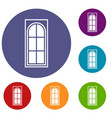 wooden door with glass icons set vector image vector image