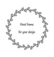 wreath with black and white simple doodle flowers vector image