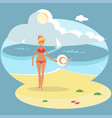 young girl on beach vector image vector image