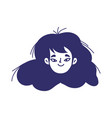 young woman face cartoon character female icon vector image