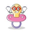 super hero baby pacifier character cartoon vector image