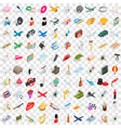 100 occupation icons set isometric 3d style vector image vector image