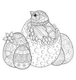 adult coloring bookpage a cute chik in the egg vector image