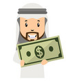 arab with money on white background vector image vector image