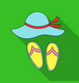 beach hat with flip-flops icon in flat style vector image