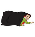 boy hiding in sack vector image